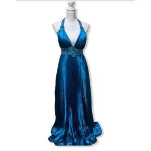 Turquoise FLIRT ALine Empire Waist Beaded Gown